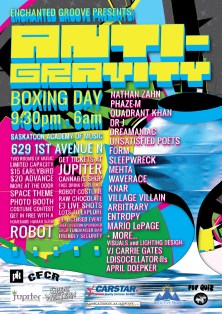 Anti-Gravity Event Poster by Carrie Gates, 2011