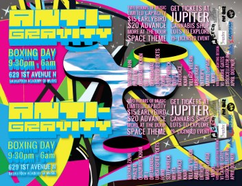 ANTI-GRAVITY Handbill 4 Up - Boxing Day 2011 - Saskatoon, SK, Canada - Design by Carrie Gates