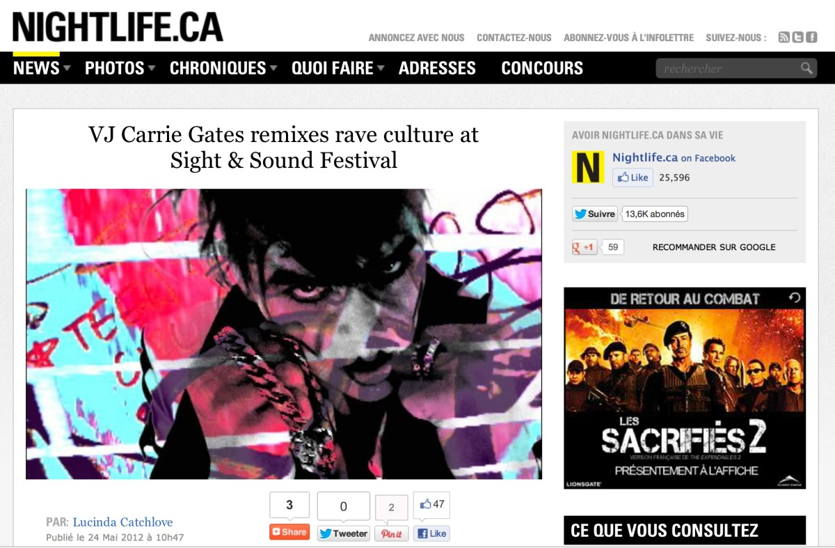 Nightlife.ca Interview with Carrie Gates about Rave Culture and VJing in Saskatchewan