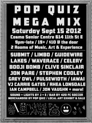 Pop Quiz Mega Mix Event Poster - September 15, 2012 - Poster by Jon Vaughn