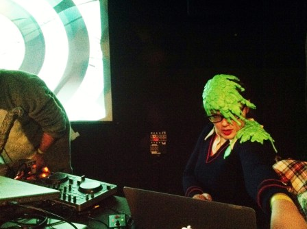 Carrie Gates - Slime Costume in effect while VJing at the Paved Arts Vampire Beat party in Saskatoon