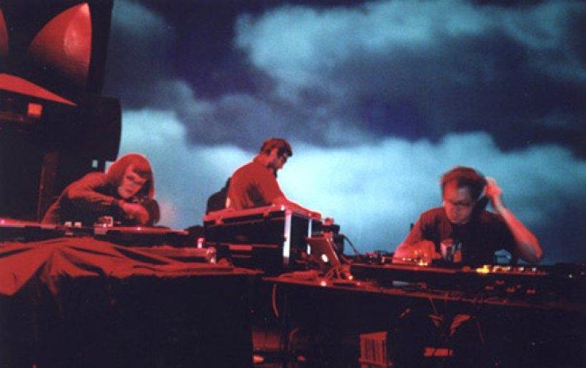 Carrie Gates, Marinko Jareb, and tobias c. van Veen, DJing at the Phantom Power Festival in North Bay, 2004