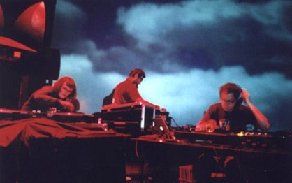 Carrie Gates, Marinko Jareb, and tobias c. van Veen, DJing at the Phantom Power Festival in North Bay, 2004