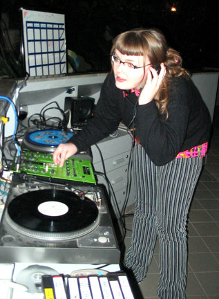 Carrie Gates DJing at Plane Language event at the University of Saskatchewan, 2005