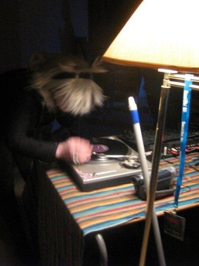 DJ Carrie Gates / DJ Swizzlesticks - Saskatoon Anarchist Bookfair 2008. Photo by Jake Hardy.