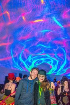 Sean Caruso and Carrie Gates in the NEST Dome at Motion Notion 2016 - Photo by Neon Blaster