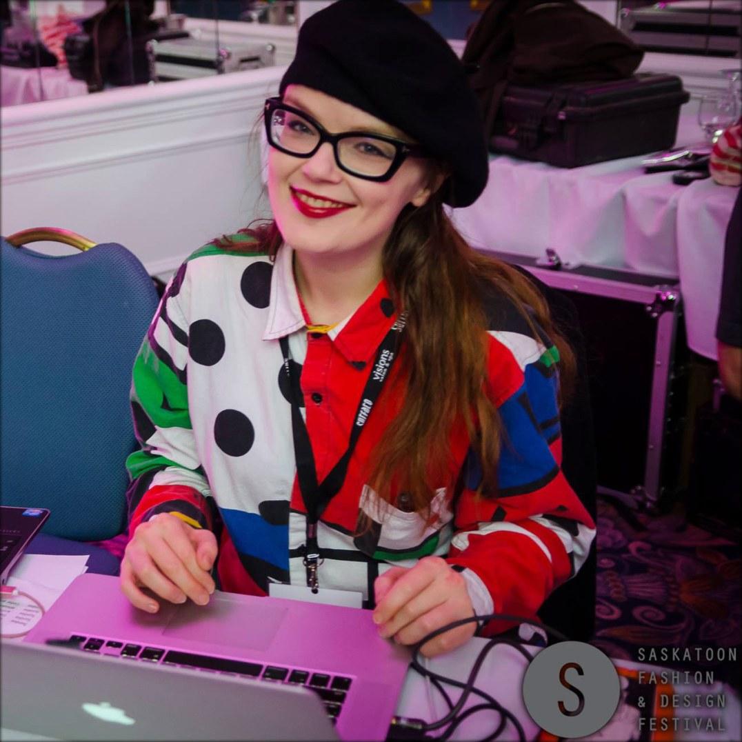Carrie Gates VJing at the Saskatoon Fashion and Design Festival - Photo by Joshua Klingenberg