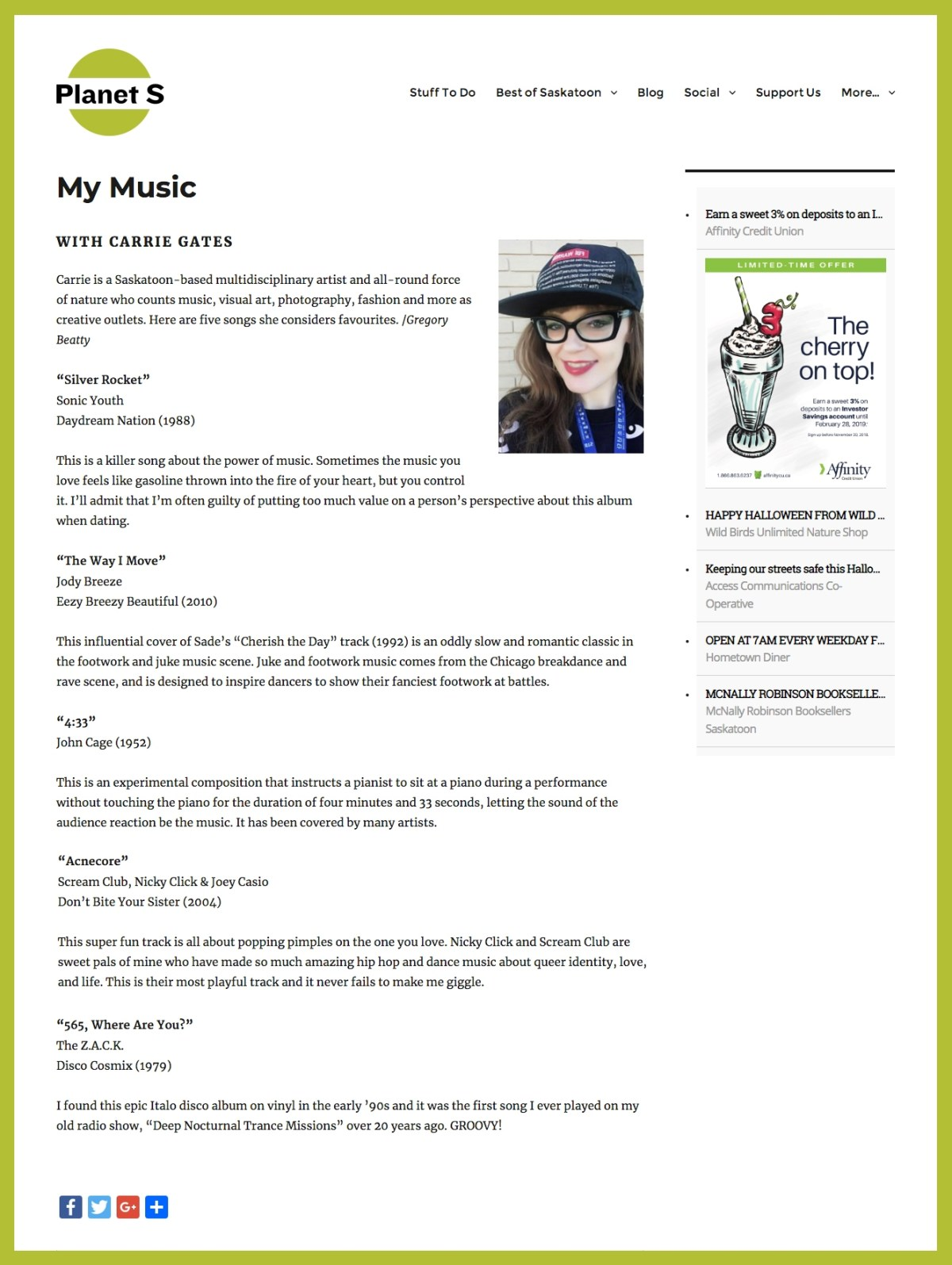 "Carrie Gates Featured in ""My Music"" Article in Planet S Magazine"