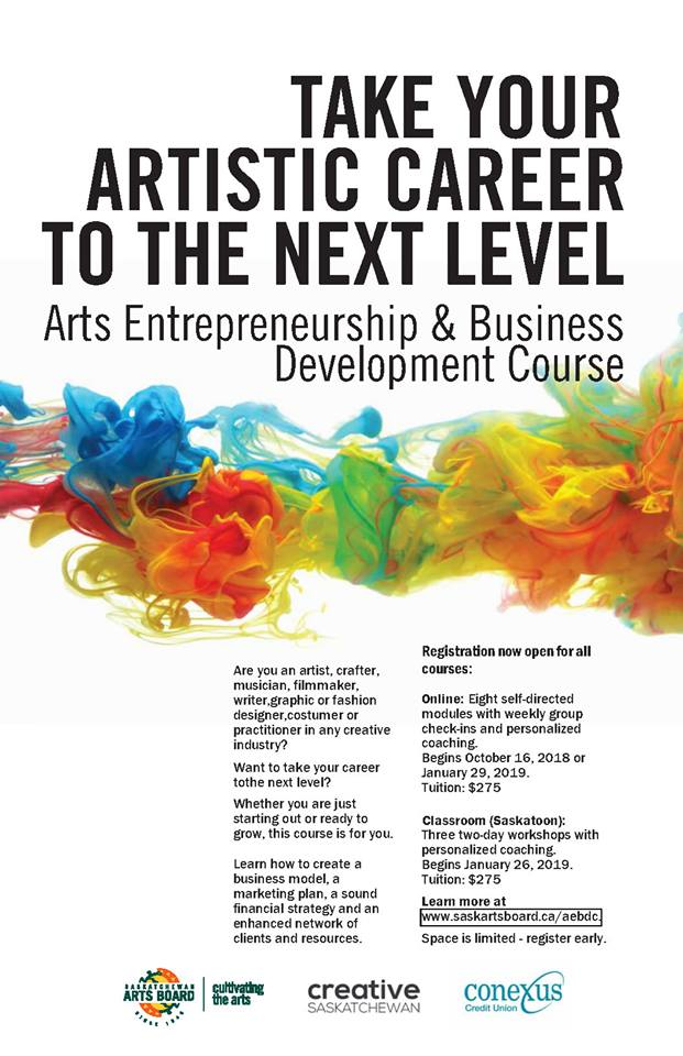 Arts Entrepreneurship Business Development Course by the Sask Arts Board and Creative Saskatchewan