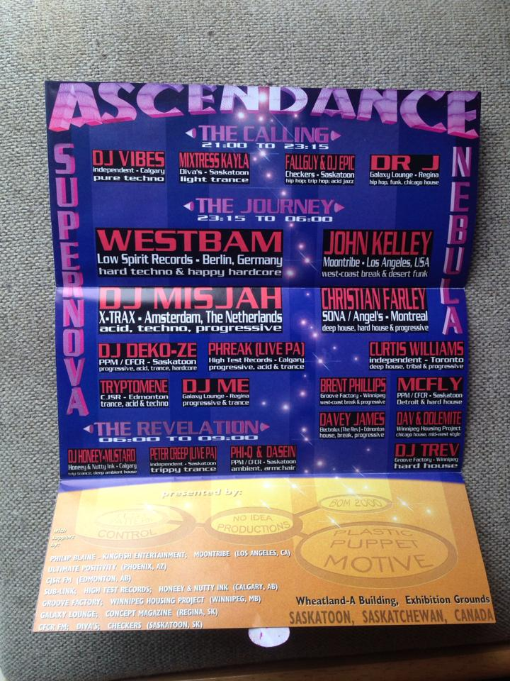 Ascendance - Flyer for Saskatoon Rave, 2006