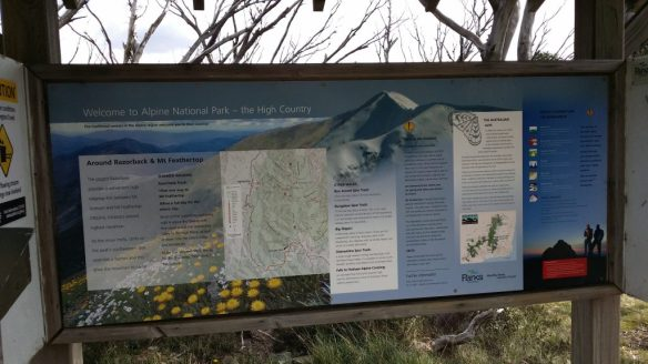 The Parks Victoria information sign at the beginning of the Razorback track