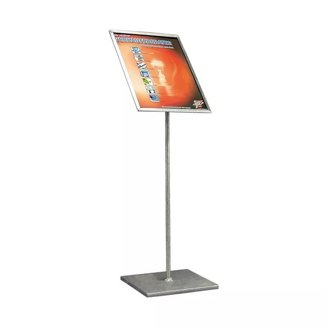 poster stand zinc plated with angled poster frame