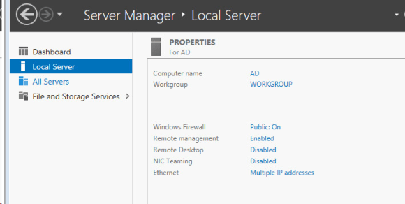 Installing Active Directory and DNS on Windows Server 2012 R2 - Local Server section in Server manager