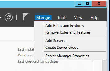 Installing Active Directory and DNS on Windows Server 2012 R2 - Manage add roles and features