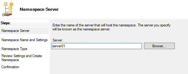 create a roaming profile Choose Namespace server
