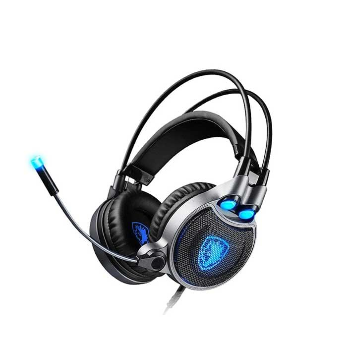 SADES gaming headset LED Φωτισμος USB 50mm, 7.1CH, μαύρο SA-R1 eshop