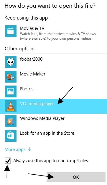 Make vlc default media player windows 10