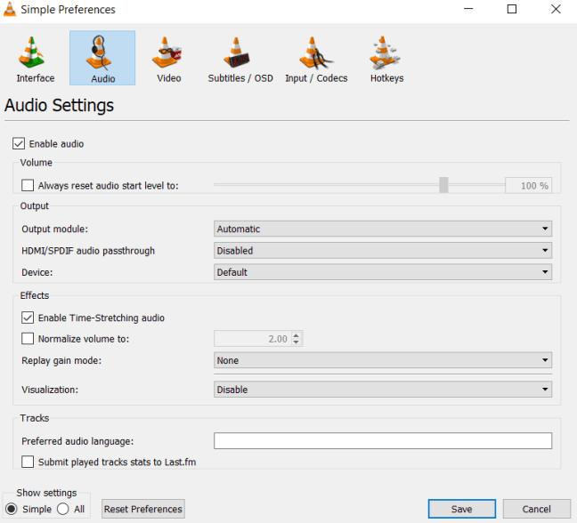 Simple Audio Preferences