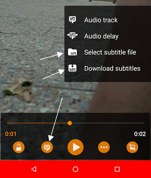 Subtitle Options in VLC for Android