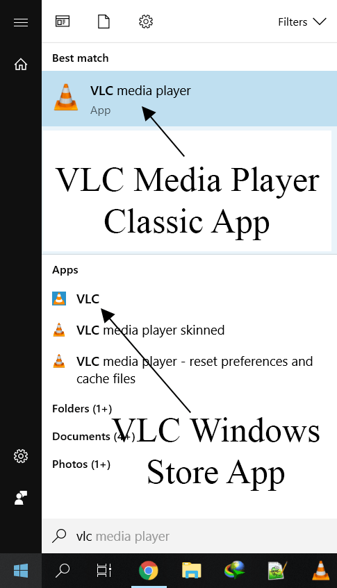 Different Windows VLC Apps