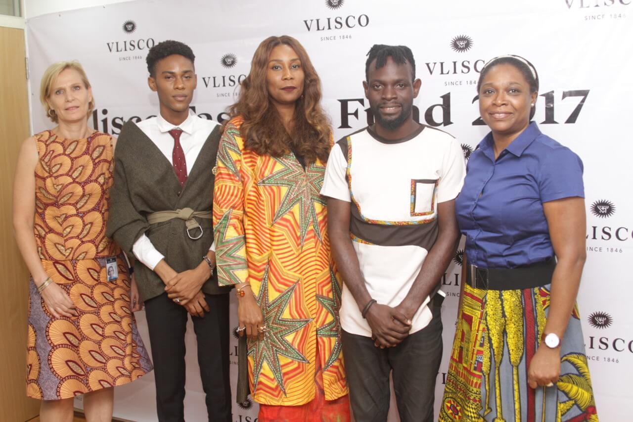 Head Human Resources Vlisco Nigeria; Yvonne Chioke, Uche Uba, Joan Ibuzo, Oluwakayode Etti and Dotun Akande at the Vlisco Fashion Fund 2017 winner presentation