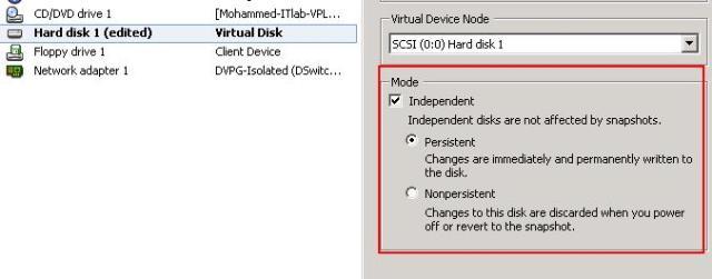 Virtual Machine Snapshot Limitation -Independent Disk