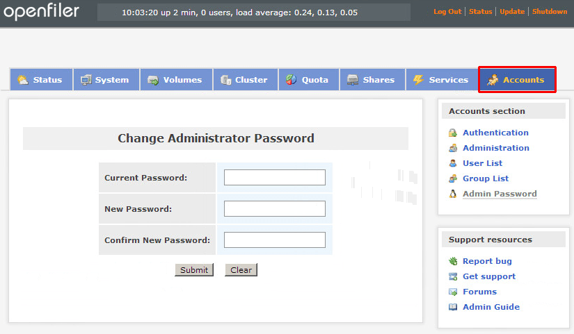 Openfiler change administrator password