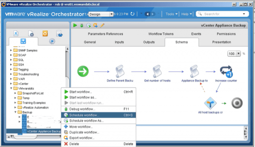 vCenter Backup Schedule workflow vrealize orchestrator