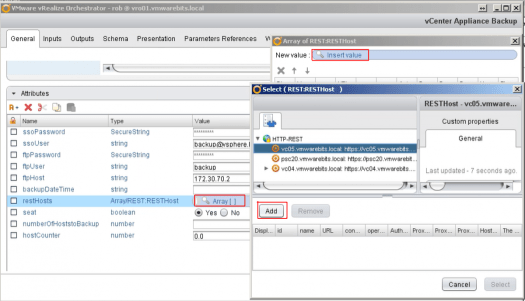 vCenter Orchestrator define arrya of rest hosts