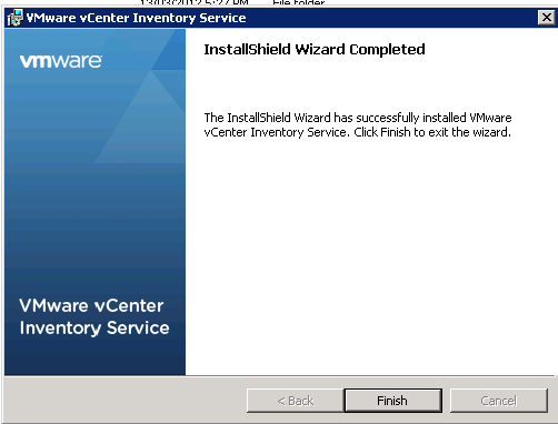 vCenter Inventory Service installation Step 13