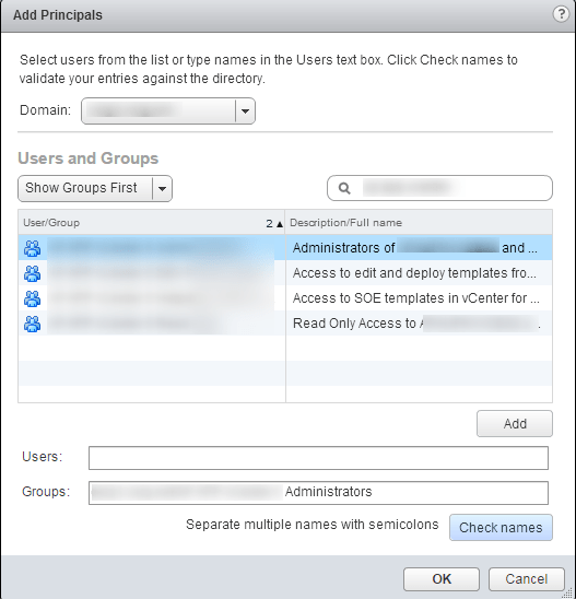 vSphere Web Client SSO Add Principals
