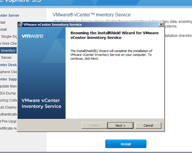 vcenter inventory service upgrade step 3