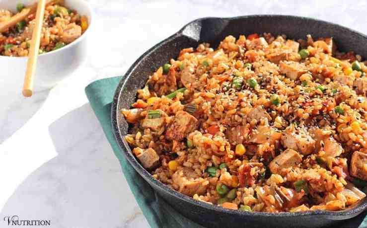 Kimchi Fried Rice | This fried rice adds a pop of flavor to a traditional dish. vegan, recipe, dinner, rice