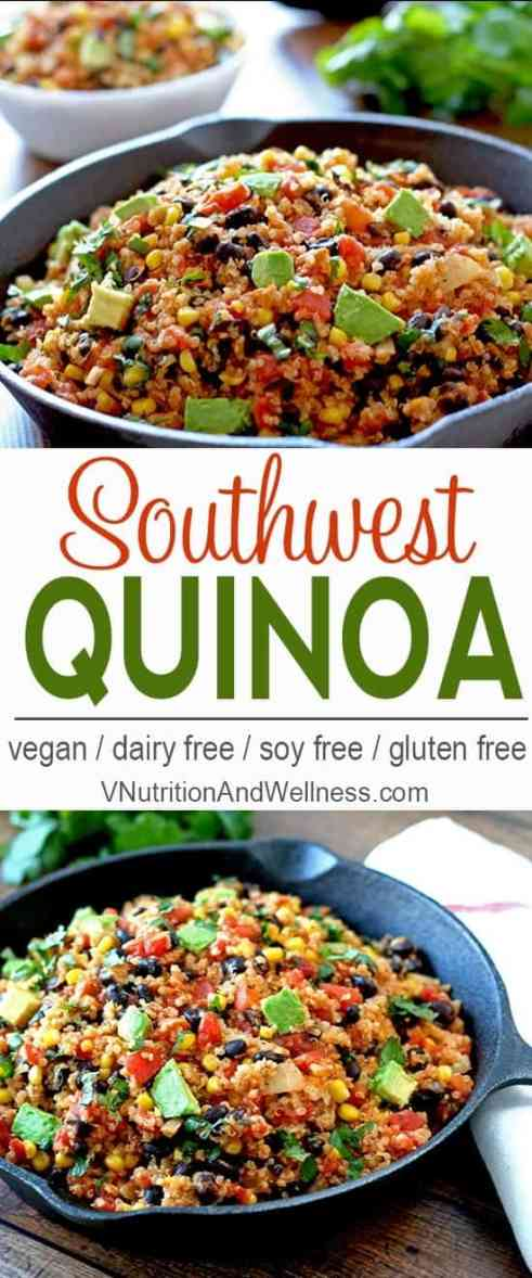 Southwest Quinoa | This easy to make southwest quinoa can be ready in under 30 minutes and served hot or cold! Click to read more or repin to save for later!