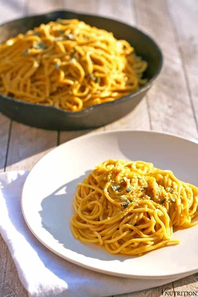 This Vegan Pumpkin Pasta is the perfect fall dinner. The sauce highlights pumpkin while being rich and creamy without the dairy. This hearty pasta will be a hit at dinnertime!