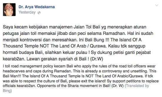 Jilbab & Peci Dilarang, Arya: 'Bali Bukan Tanah Arab, Lawan Gerakan Syariah di Bali?