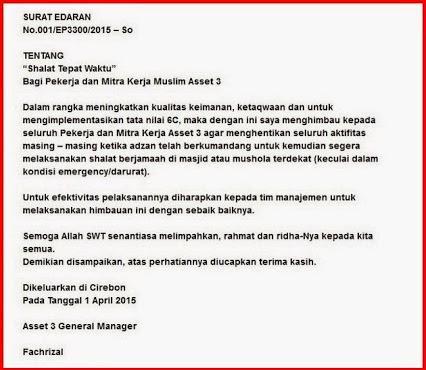 Surat Edaran GM Pertamina Soal Saat Adzan Berkumandang Stop Bekerja dan Wajib Sholat  Bikin Heboh