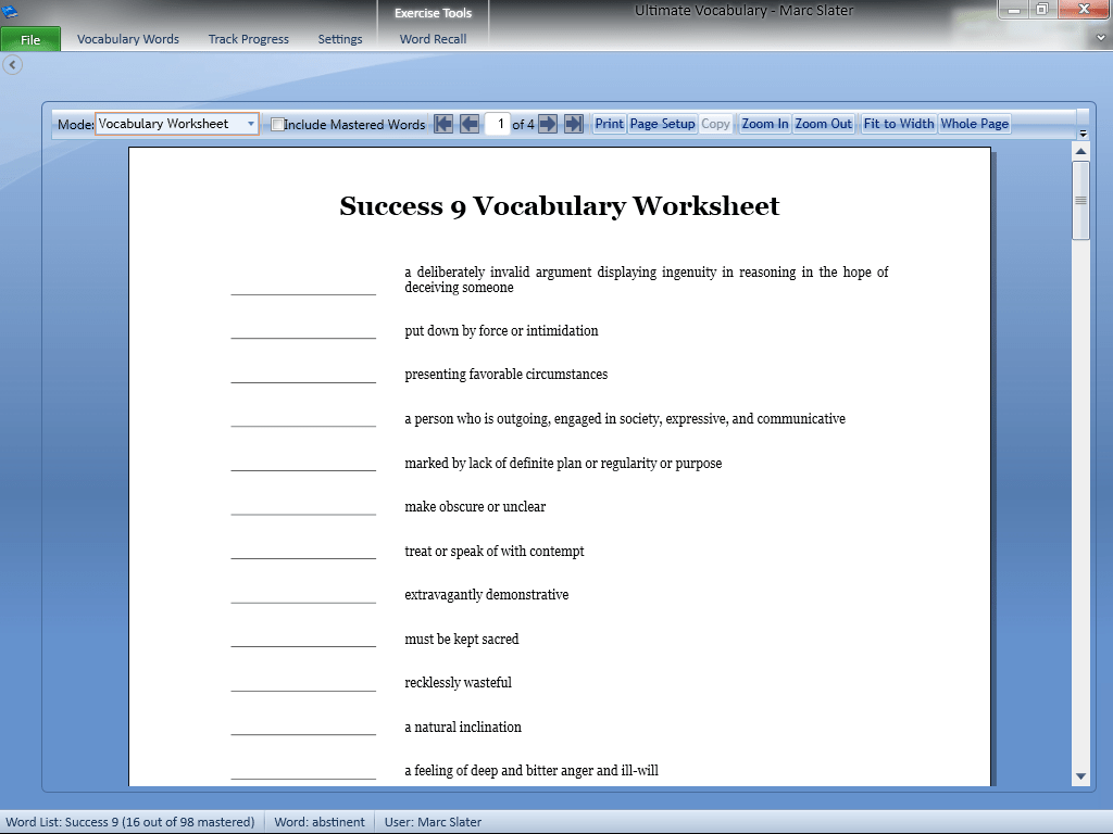 Vocab1 Vocabulary Building Software