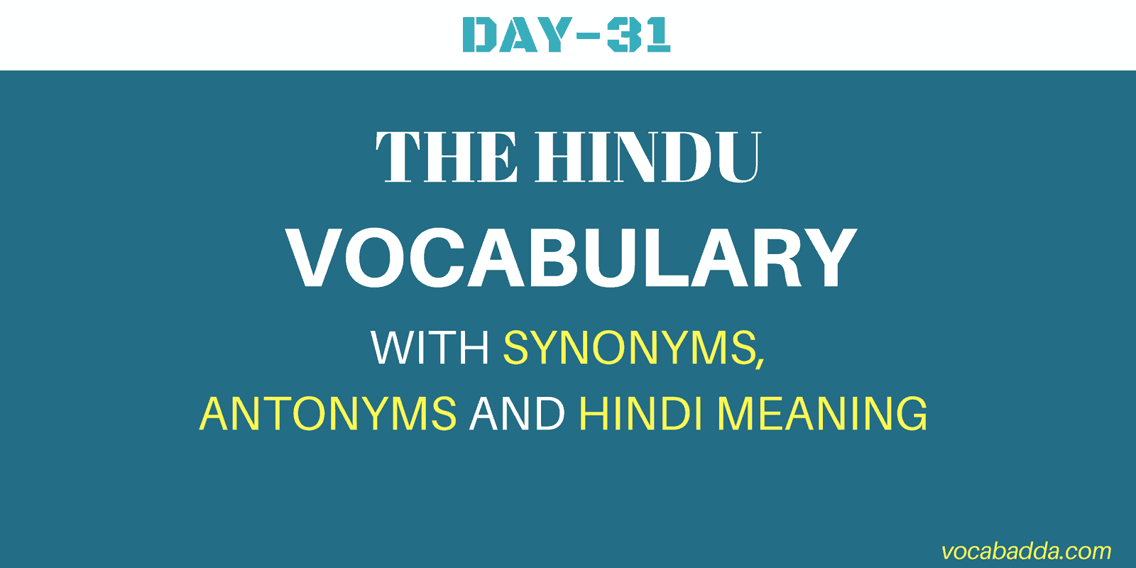 English Vocabulary Day-31 With Hindi Meaning