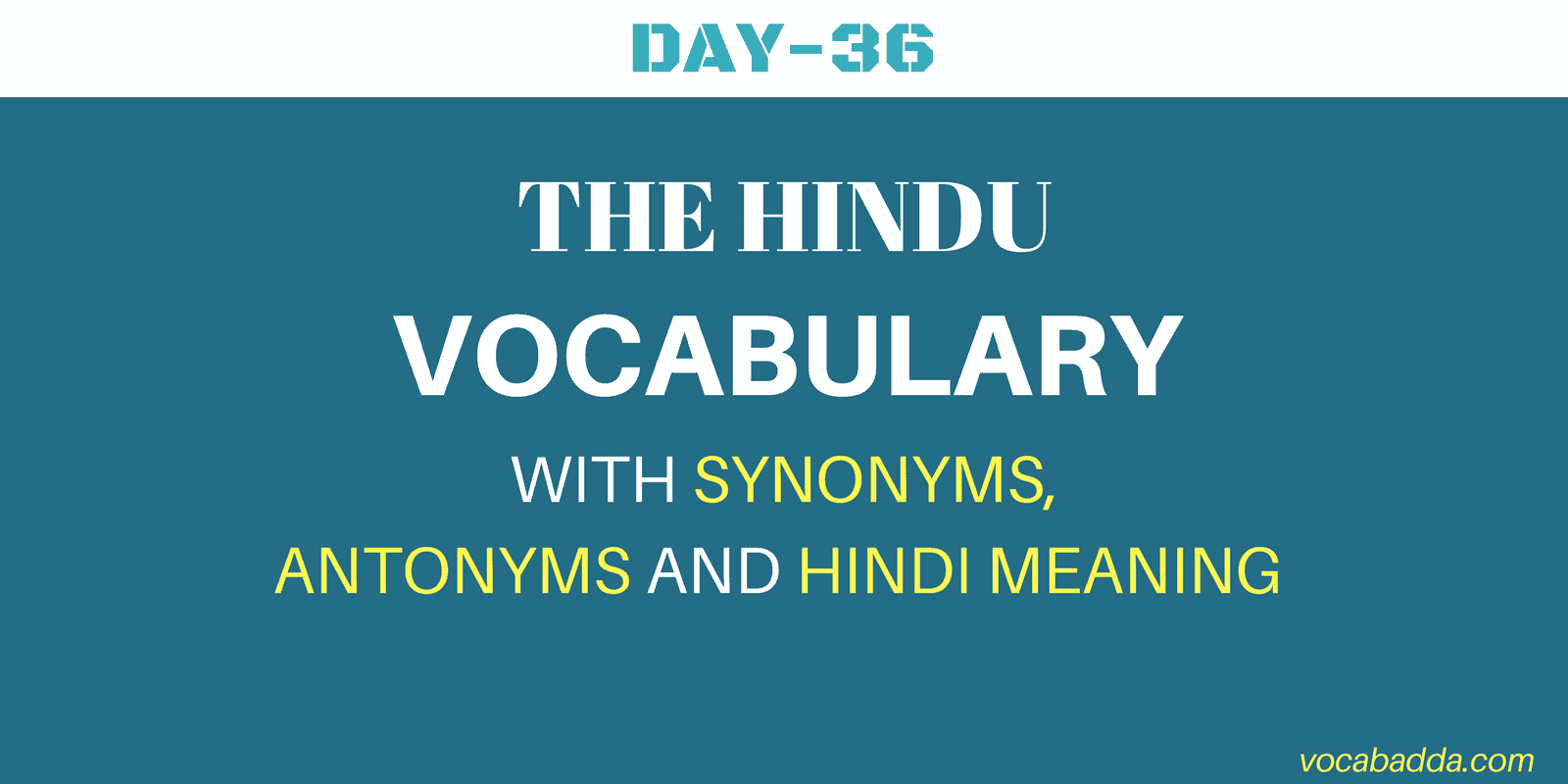 Important  Vocabulary For SBI, IBPS, RRB, SSC And CAT Exam 2018 Day-36