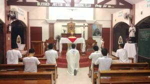 Eucharistic adoration at SDV Maasin, Leyte, Philippines