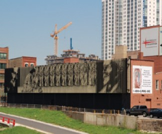 """BROTHER MARK ELDER'S MURAL, """"The Mandatum,"""" is seen by tens of thousands daily from Chicago's Kennedy Expressway."""