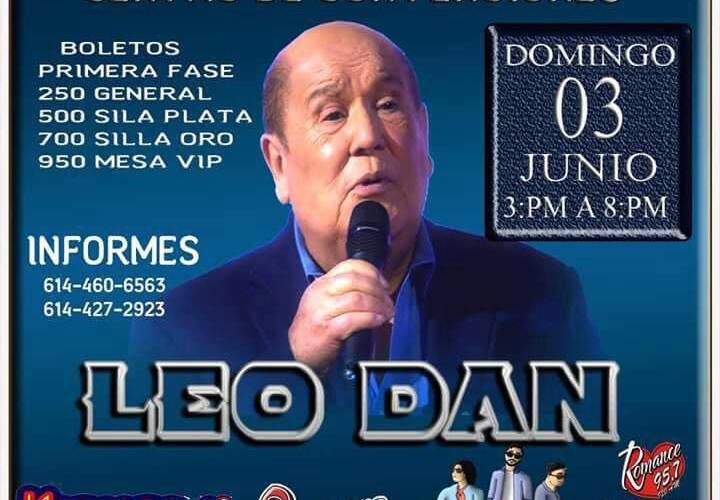 Todo listo para la espectacular presentación de Leo Dan en Chihuahua, Esta tarde de Domingo