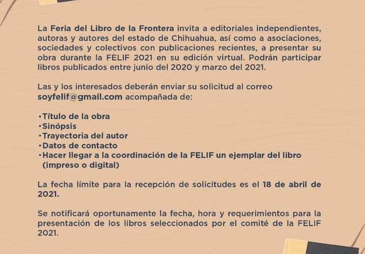 Invitan a escritoras y escritores chihuahuenses a presentar su obra en la Feria del Libro de la Frontera 2021