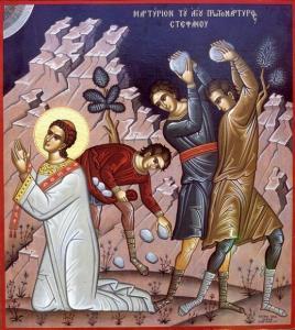 A treia zi de Crăciun; †) Sf. Ap. Întâiul Mc. şi Arhid. Ştefan (Sâmbăta după Naşterea Domnului)