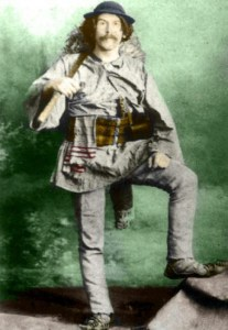 Franz Nopcsa la 27 de ani în haine de cioban român cu chimir ștergar și fluier