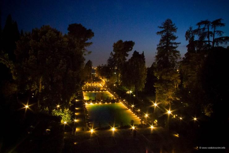 Vila d'Este noću - bazeni Neptunove fontane