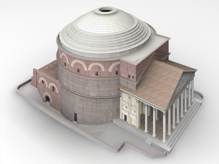 Panteon - spoljašnji izgled, rekonstrukcija 3D