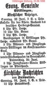 Zeitungsausschnitt von 1898