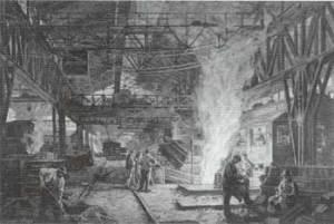Der Elektroofen 1920. Heliogravüre von Otto Bollhagen. (Quelle: Saarstahl AG)